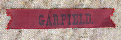 Antique 1880 James A. Garfield Red Cloth Campaign Ribbon Mourning? Vintage