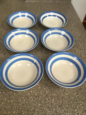 Cornish Blue Bowls By Tg Green. Set Of 6.
