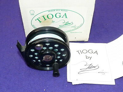 Tioga T4 alloy dry fly fishing reel with papers and makers box fish Hardy line 3