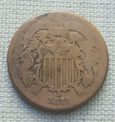 1871 Two Cent Piece - Key Date - Free Shipping.
