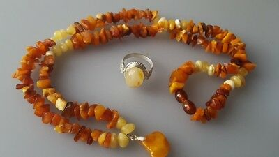 Natural Baltic  Egg Yolk Butterscotch Amber Stone Necklace /Silver Ring