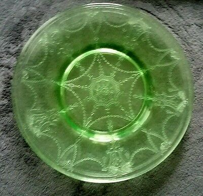 """Green Depression Glass Cameo Ballerina Luncheon Plate 8.25"""" diam. (3 available )"""