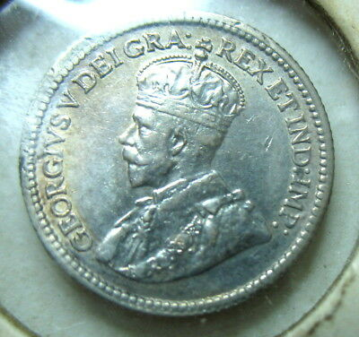 1914 Canadian 5 cents ~ CH AU ~ SILVER  ~ 0.99 start & ship.