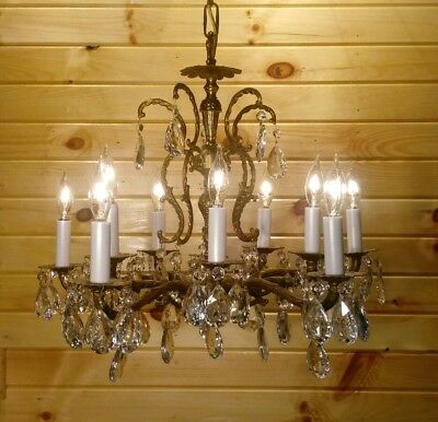 Vintage Spanish Brass 85 Crystal Chandelier c1950 Hanging 10 Arm Light Fixture