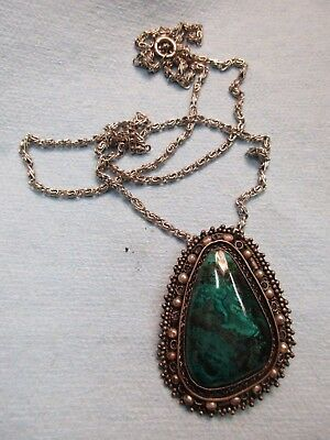 Israeli Sterling Silver Green Turquoise Stone Pendant