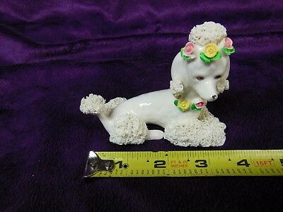 Pretty. Vintage,Hand Painted, Ceramic White Poodle Spaghetti Dog