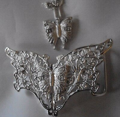 Solid Silver Butterfly with a Butterfly Centrepiece Belt Buckle