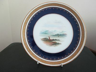 Superb Antique Wedgwood Cabinet Plate Hand Painted 'the Kyles Of Bute' C 1878-91