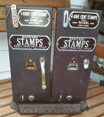 Vintage Schermack Products Corp (4)1-8 Cent Coin Operated Stamp Vending Machine