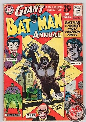 Giant Batman Annual #3 80 Pages Summer 1962 1st App THE MAD HATTER Silver Age