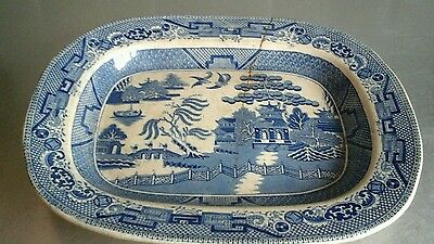 large vintage blue and white Willow Pattern meat plate
