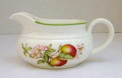 VINTAGE Made in England White Porcelain GRAVY BOAT w/ Fruit Pattern EUC