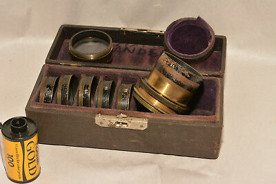 Early Brass Barrel Lens Set Boxed With Seven Different Screw In Elements