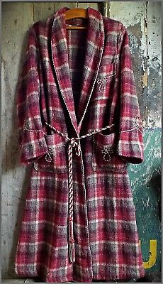 MENS VINTAGE DRESSING GOWN 1940'S WOOL PLAID cosy warm WINTER ROBE fine example