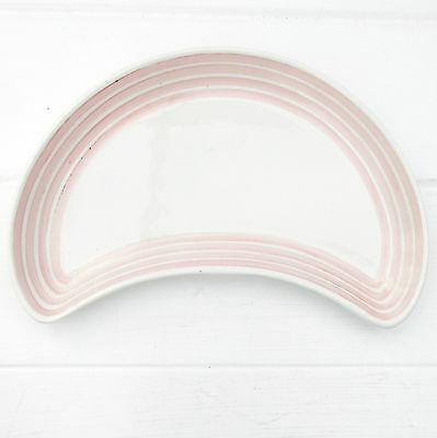 Vintage 1950s Ridgway Vitrock Hotelware Pink Stripe Crescent Shaped Dish Plate