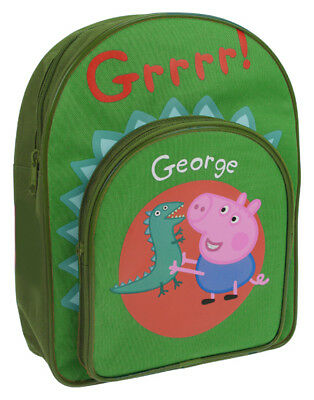 Peppa Pig George Pig and Dinosaur Green Backpack with Front pocket