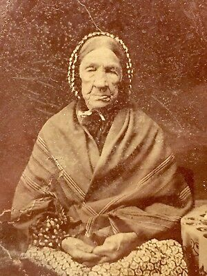Rare 1800s Antique Tintype Native American Indian Navajo Elder Deformed Hands