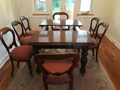 Victorian Style Dining Table and Matching Chairs.