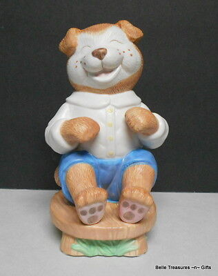 Puppy Dog on a Stool Coin Bank with Stopper