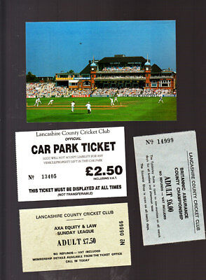 Unused Postcard, Lancashire County Cricket Club, Old Trafford + Tickets