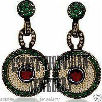 Vintage 0.95Cts Rose Cut Diamond Emerald Pearl Ruby .925 Silver Jewelry Earring