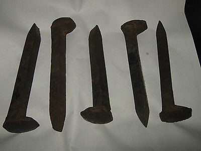 5 Vintage RAIL ROAD spikes  Great for forging tongs FREE shipping