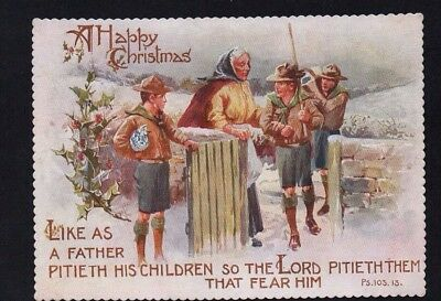 Victorian Xmas Card:Scouts helping Old Lady in the snow 'Like as a Father...'