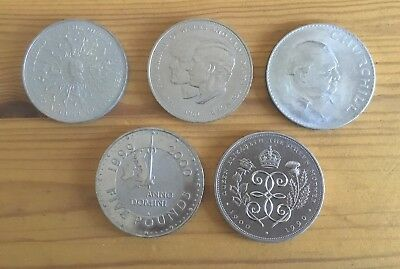 British £5 1990 Queen Mother £5 1999 Crowns Churchill Lady Di Queen Mother