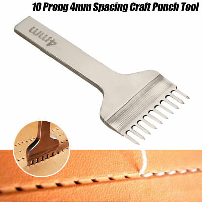 Leather Craft Tool Hole Chisel Graving Stitching Punch Tool Set 4mm 10 Prong UK
