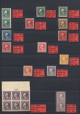 US Mint NH Washington Franklins w/ plate # and singles to 50c #477 Cat $36,410