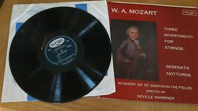 Argo ZRG 554. Grooved Oval label. Mozart Divertimenti. Notturna. Marriner.
