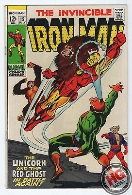Invincible Iron Man #15 7/69 Silver Age Marvel Comics Avengers Red Ghost Unicorn