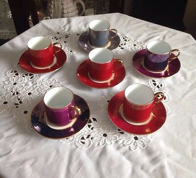 Beautiful Vintage China Harlequin Colours Coffee Set New Price