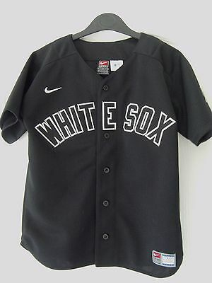 BOY's  NIKE WHITE SOX BUTTON FASTENING USA BLACK WHITE BASEBALL SHIRT - Small