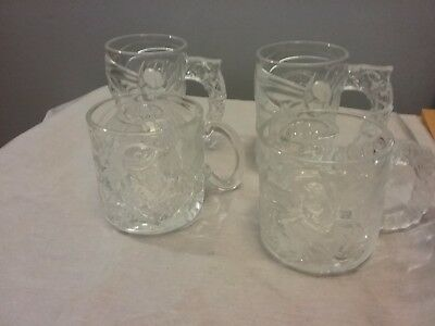 Batman Forever set of 4 Promotional Glass Cups Mugs - McDonalds 1995, clear glas