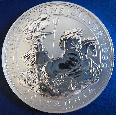1999 Two Pound Britannia, 1 troy ounce of pure silver + capsule - top grade