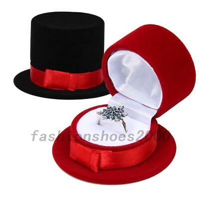 Retro Velvet Wedding Ring Box Luxury Hat Pendant Jewelry Display Holder