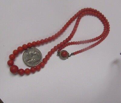 Graduated Antique Natural Untreated Undyed Deep Red Salmon Coral Bead Necklace