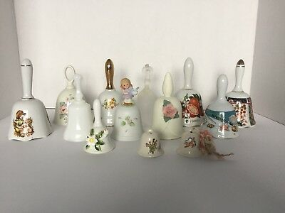 Lot of 13 Vintage Hand BELLS Ceramic Porcelain Collectible