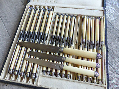 SUPERB & RARE ANTIQUE FRENCH STERLING SILVER FLATWARE 35 PIECES by LEFEBVRE