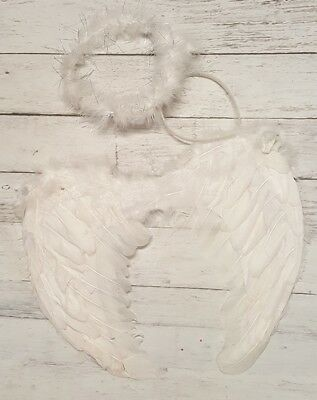White Angel Feather Wings & Halo Headband 2 Pc. Set ~Toddler~Child New In Packag