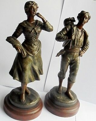 Antique Quality Heavy Pair of Spelter Figures.  Good Condition.