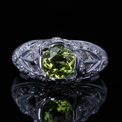 Vintage 14K White Gold Genuine Olive Peridot Pave Real SI/H Diamond Wedding Ring
