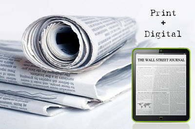 Wall Street Journal 1 Year (Print/Digital) Subscription (New & Renewal) WSJ Deal