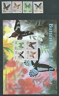 Ceylon Sri Lanka 1978 Butterflies Set & Minisheet   Mnh Fresh!