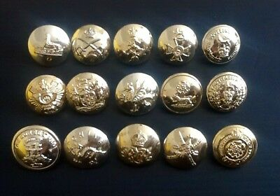 Assorted military staybrite buttons (15).