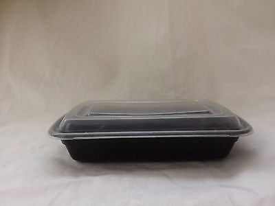 50 pc-set 28 oz. Black Rectangular Microwaveable Food Take-Out Containers w/Lid