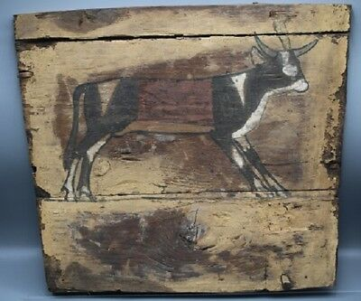 Large Egyptian Wooden Sarcophagus Section with Apis Bull
