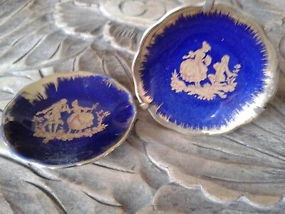 LIMOGES FRANCE 2 miniature cobalt blue and gold plates, one with plate stand