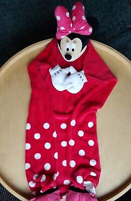 VGC Disney Minnie Mouse 2in1 Hand Puppet & Wrap Around Blanket Super Soft Plush